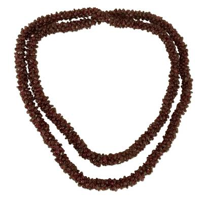 Garnet long beaded necklace, 'Love's Fortunes' - Beaded Garnet Necklace