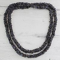 Iolite long beaded necklace, 'Blue Shadows' - Iolite long beaded necklace
