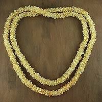 Citrine long beaded necklace, 'Lemon Sugar' - Fair Trade Beaded Yellow Citrine Long 47-Inch Necklace