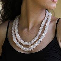 Rose quartz long beaded necklace, 'Aura' - Fair Trade Beaded Rose Quartz Necklace