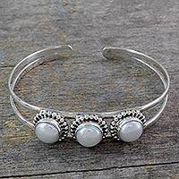 Pearl cuff bracelet, 'Moonlight Trio'