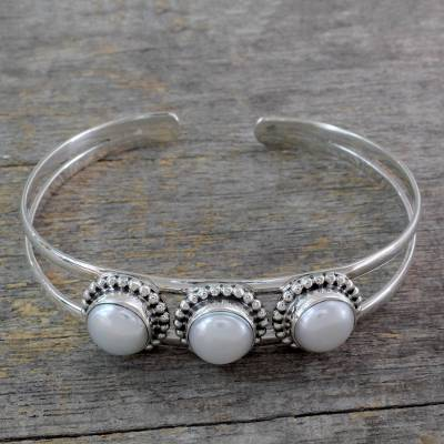 Pearl cuff bracelet, 'Moonlight Trio' - Hand Made Indian Sterling Silver Cuff Pearl Bracelet