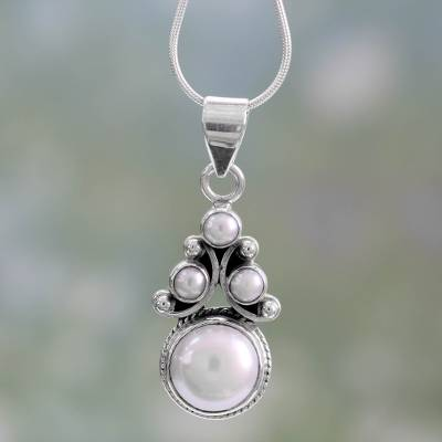 Pearl pendant necklace, 'Angel Tree' - Bridal Pearl Necklace in Sterling Silver from India