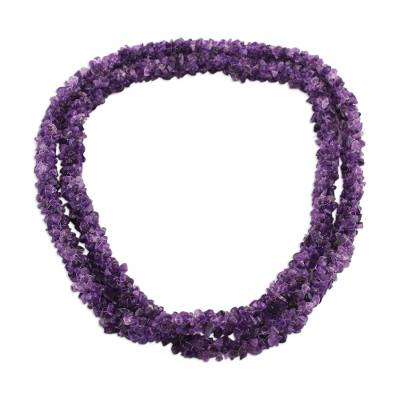 Amethyst beaded strand necklace, 'Lovely Lilacs' - Amethyst Beaded Strand Necklace Handmade in India