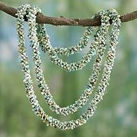 Turquoise long beaded necklace, 'Song of the Sky' - Artisan Crafted Turquoise Long Beaded Necklace from India