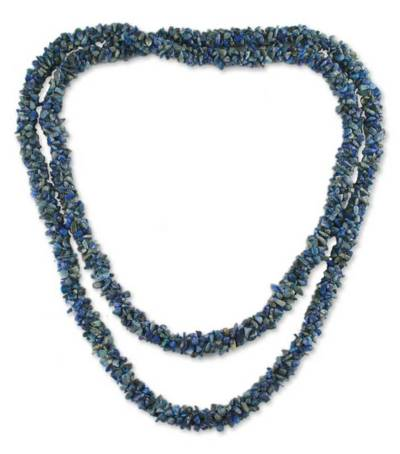 Lapis lazuli long beaded necklace, 'Mermaid Song' - Artisan Crafted Beaded Lapis Lazuli Necklace