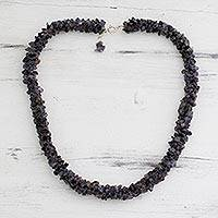 Iolite beaded necklace, 'Blue Shadows' - Fair Trade Iolite Beaded Necklace