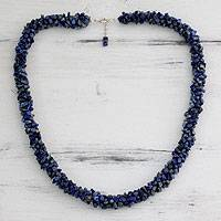 Lapis lazuli beaded necklace, 'Mermaid Song' - Lapis Lazuli Artisan Crafted Beaded Necklace from India
