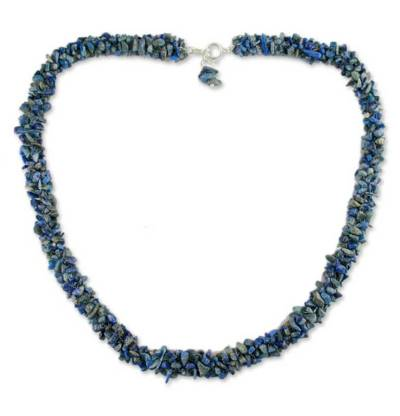 Lapis Lazuli Artisan Crafted Beaded Necklace from India