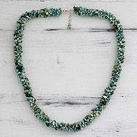 Turquoise beaded necklace, 'Song of the Sky' - Unique Beaded Turquoise Necklace