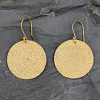 Gold vermeil dangle earrings, 'Summer Sun' - 22k Gold Vermeil Earrings Artisan Crafted Jewelry