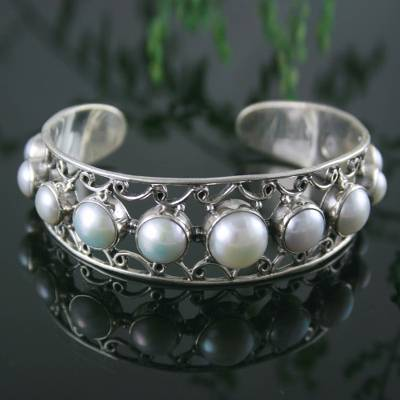 Pearl cuff bracelet, 'Nostalgic Chic' - Pearl and Sterling Silver Cuff Bracelet from India