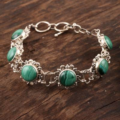 Malachite flower bracelet, 'Mystical Blooms' - Floral Sterling Silver and Malachite Bracelet from India