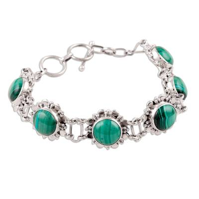 Floral Sterling Silver and Malachite Bracelet from India