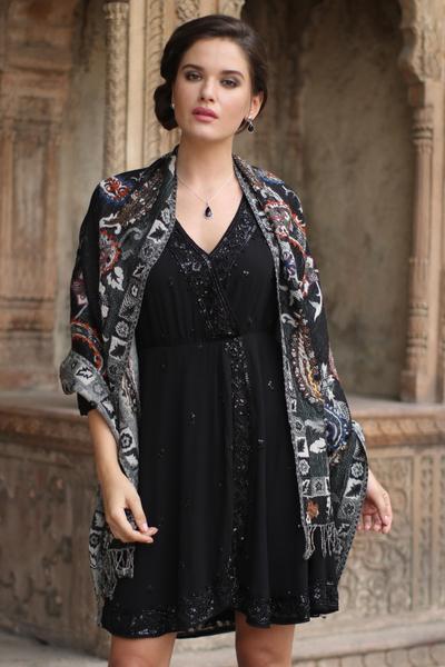 Wool shawl, 'Eventide' - Fair Trade Floral Wool Embroidered Wrap Shawl