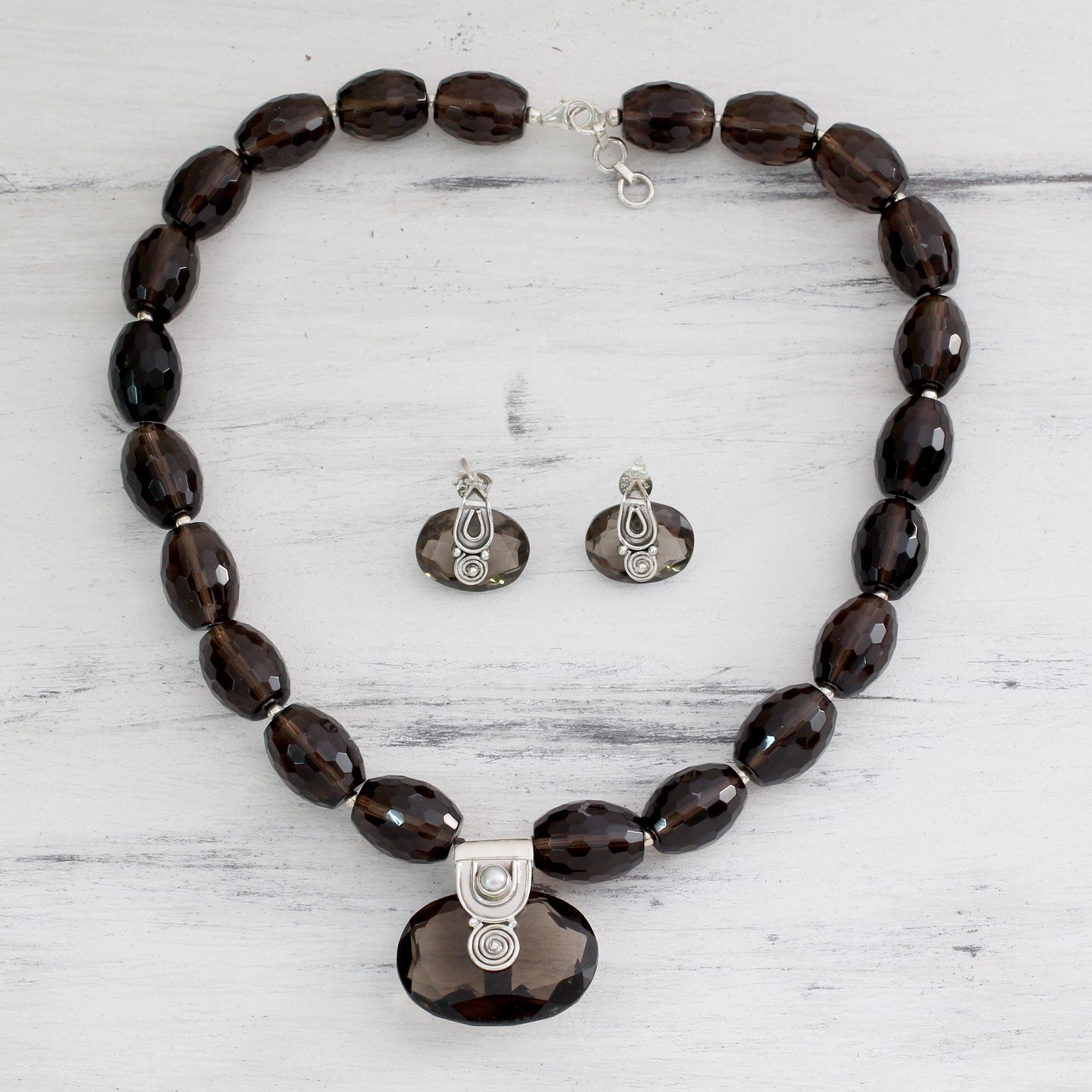 Sterling Silver And Smoky Quartz Jewelry Set Mystery Novica