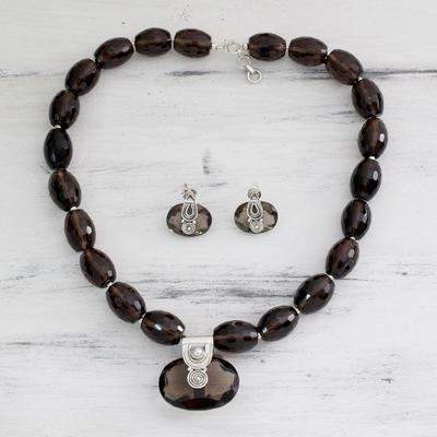 Smoky quartz jewelry set, 'Mystery' - Sterling Silver and Smoky Quartz jewellery Set