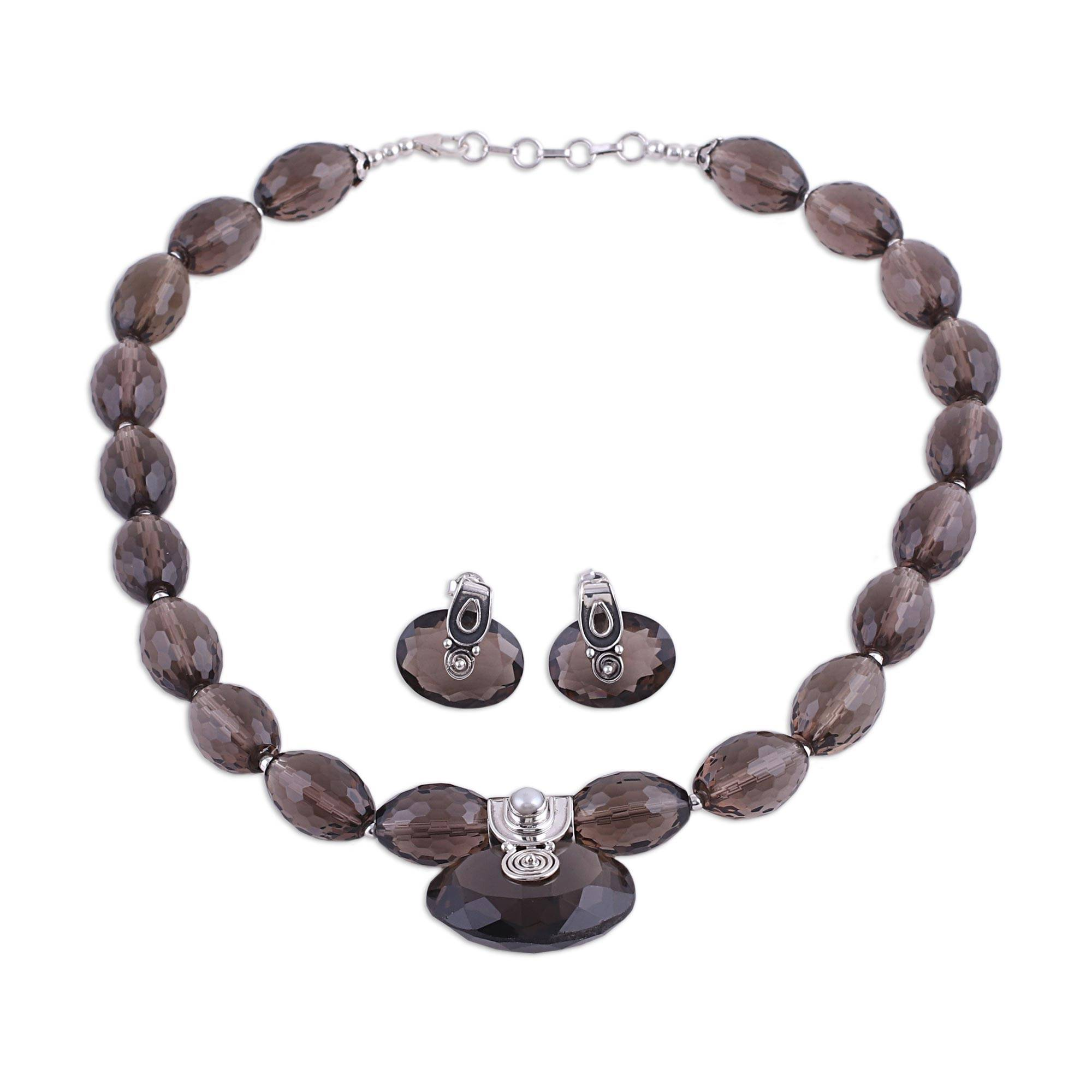 Unicef Uk Market Sterling Silver And Smoky Quartz Jewellery Set