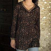 Cotton blouse, 'Golden Vines' - Handcrafted Floral Cotton Patterned Blouse Top
