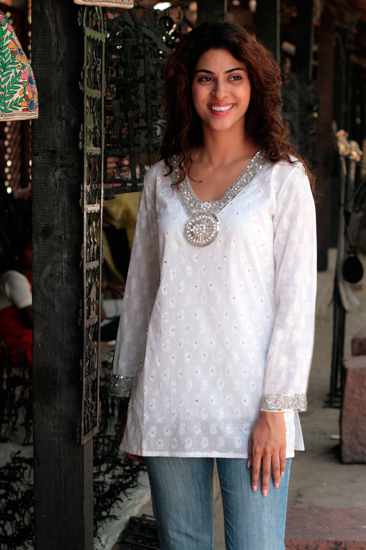 db6ab99b8d8 Fair Trade Cotton Embroidered Tunic Top - Dazzling White | NOVICA