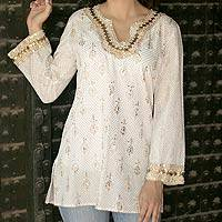 Cotton tunic, 'Golden Glamour' - Fair Trade Cotton Tunic Top Long Sleeve Blouse