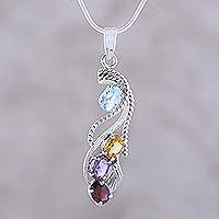 Multi gemstone pendant necklace, 'Graceful' - Amethyst and Garnet Multigem Pendant Necklace
