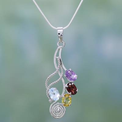 Multi gemstone pendant necklace, 'Graceful Petals' - Amethyst and Blue Topaz Pendant Necklace