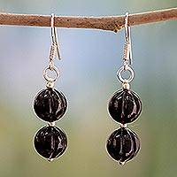 Onyx dangle earrings, 'Midnight Promise' - Onyx Beaded Dangle Earrings from India