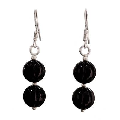Onyx Beaded Dangle Earrings from India