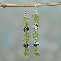 Peridot dangle earrings, 'Precious' - Artisan Crafted Sterling Silver and Peridot Earrings