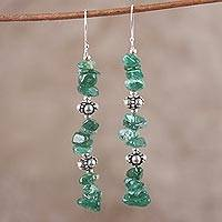 Aventurine dangle earrings, 'Ivy Garland' - Sterling Silver and Aventurine Dangle Earrings