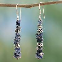 Sodalite dangle earrings, 'Sky Garland' - Sterling Silver Beaded Sodalite Earrings