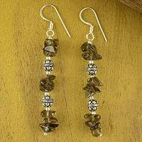 Smoky quartz dangle earrings, 'Garland' - Smokey Quartz Earrings Hand Crafted in Sterling Silver