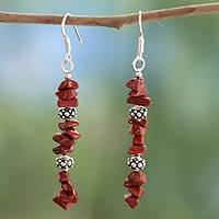 Jasper dangle earrings, 'Fire Magic' - Jasper dangle earrings