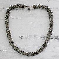 Labradorite beaded necklace, 'Sensuous' - Fair Trade Artisan Jewelry Labradorite Necklace from India