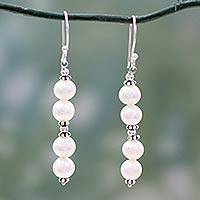 Pearl dangle earrings, 'Purely Pretty' - Pearl dangle earrings