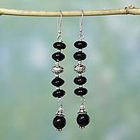 Onyx dangle earrings, 'Distinction' - Onyx dangle earrings