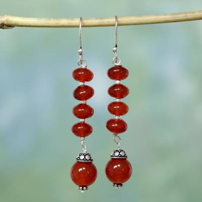 Carnelian dangle earrings, 'Fire Fall' - Carnelian dangle earrings