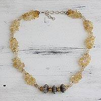 Citrine beaded necklace, 'Sunlight Celebration' - Handcrafted Citrine and Sterling Silver Necklace from India