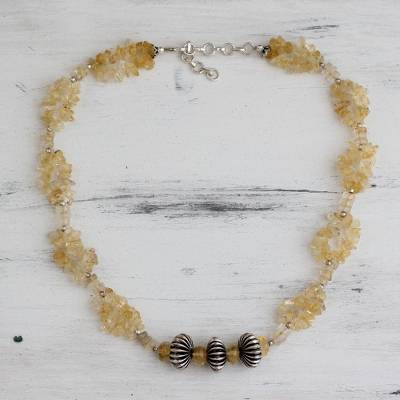 Citrine beaded necklace, 'Sunlight Celebration' - Citrine beaded necklace