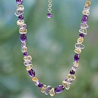 Amethyst and citrine beaded necklace, 'Wisdom's Fortune' - Amethyst and citrine beaded necklace