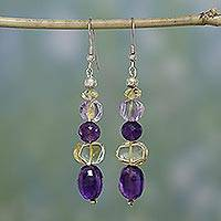 Amethyst and citrine dangle earrings, 'Wisdom's Fortune' - Amethyst and citrine dangle earrings