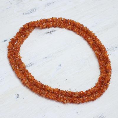 Carnelian long beaded necklace, 'Sunset Fire' - Artisan Crafted Long Wrap Carnelian Necklace from India