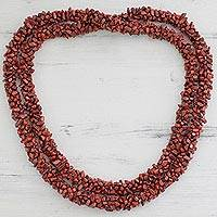 Jasper long beaded necklace, 'Desert Rose' - Jasper long beaded necklace