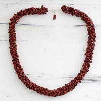 Jasper beaded necklace, 'Desert Rose' - Fair Trade Beaded Jasper Necklace