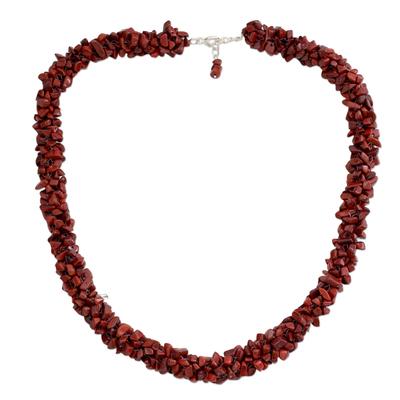 Jasper beaded necklace, 'Desert Rose' - Fair Trade Beaded Jasper Necklace