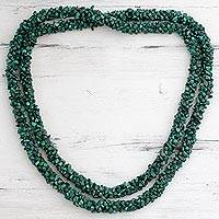Malachite long beaded necklace, 'Cool Moss' - Malachite Beaded Necklace Long Strand Handmade India