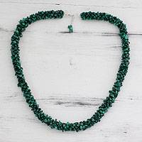 Malachite beaded necklace, 'Cool Moss' - Unique Indian Green Malachite Beaded Necklace