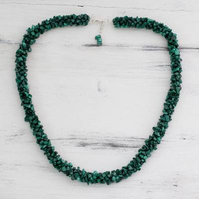 Malachite beaded necklace, 'Cool Moss' - Malachite beaded necklace