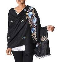 Wool shawl, 'Blue Carnation' - Chain Stitch Embroidered Black Wool Shawl with Blue Flowers